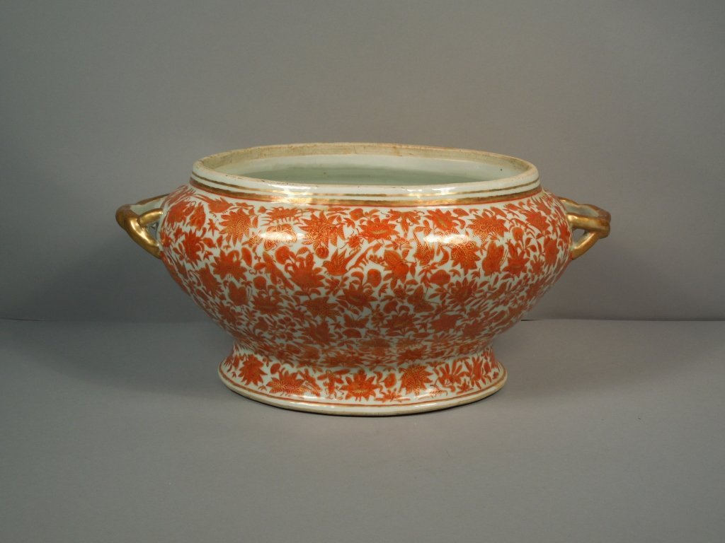 16: Chinese 19thc. Sacred Bird & Butterfly Tureen Base