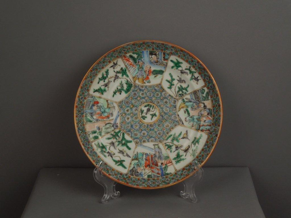 18: Chinese Porcelain Famille Verte Mandarin Plate