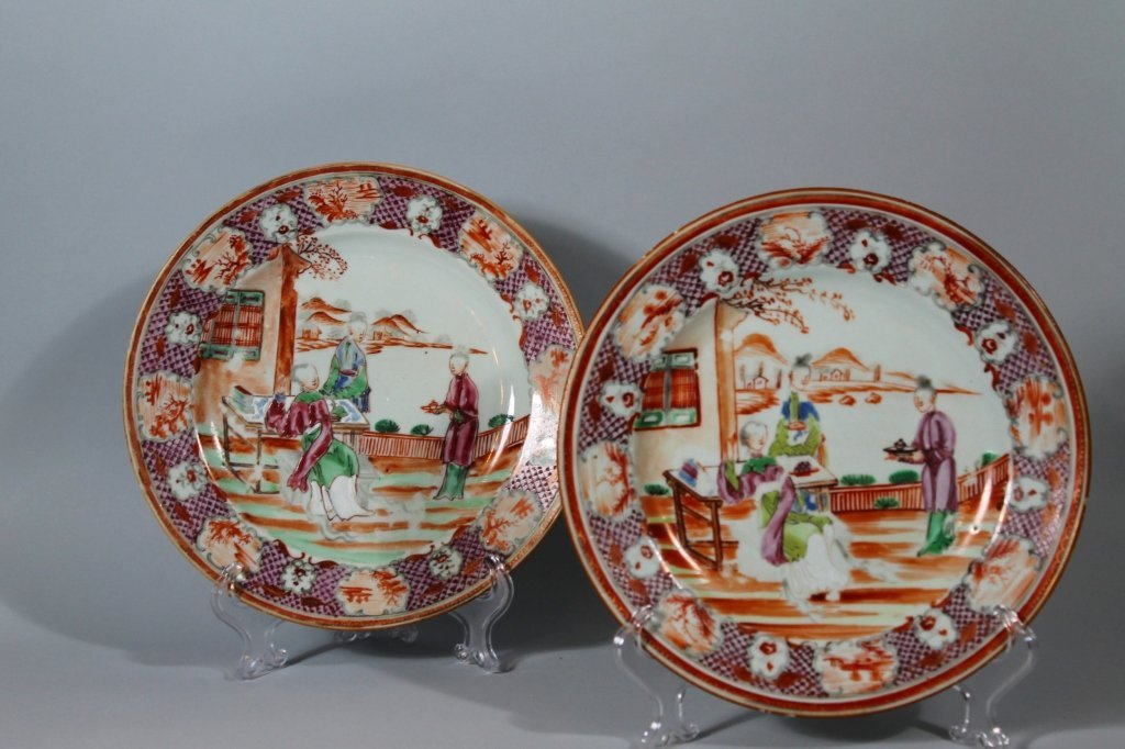 6: Chinese Export Mandarin Palette Qianlong Plates