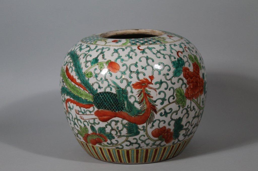 8: Chinese 19th c.  Famille Verte Dragon Jar