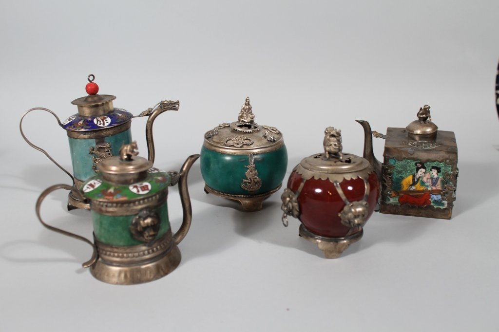 11: 5 Chinese Jade / Hardstone teapots