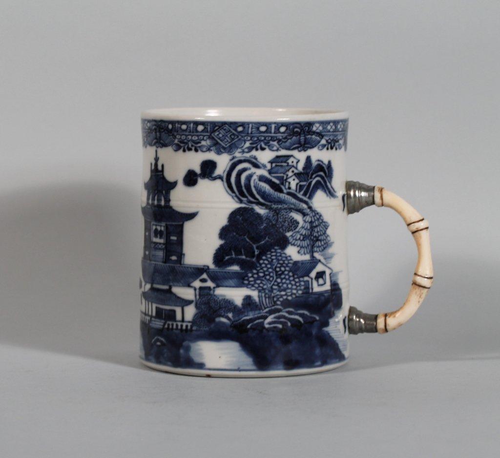19: Chinese 18th c. B/W Tankard w/ Ivory Silver Handle
