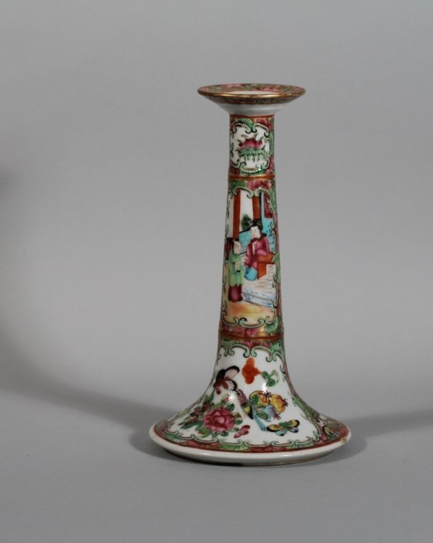23: Fine Chinese Export Rose Medallion Candlestick