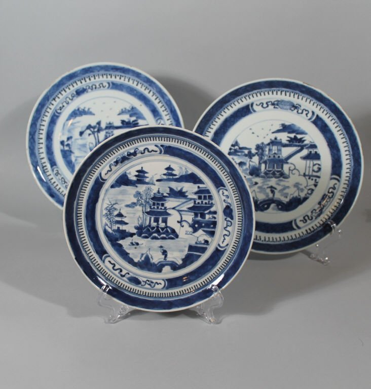 Three Chinese Blue and White Nanking Plates