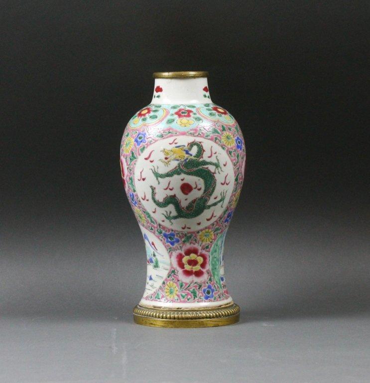 Chinese Bronze Mounted Famille Rose Dragon Vase