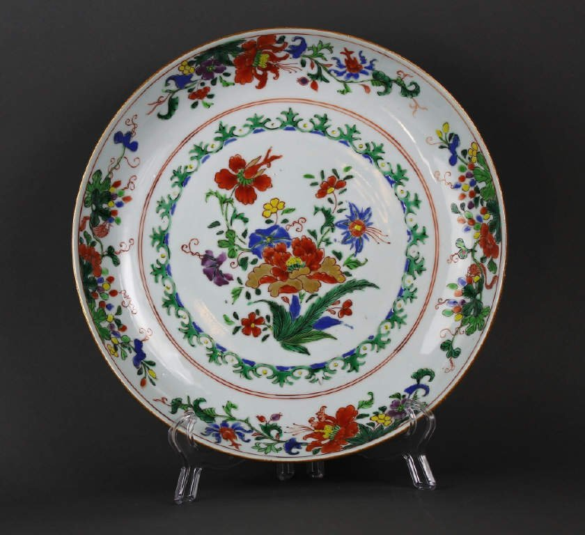 Chinese 18th century Famille Verte large Dish