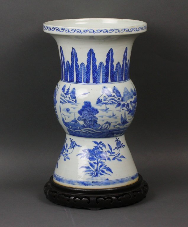 Chinese 19th c. Blue and White Gu Vase