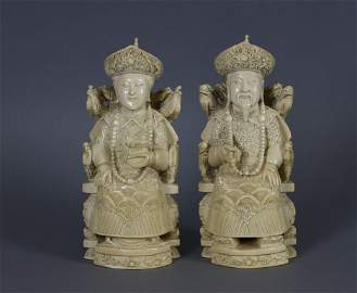 Pair Chinese Carved Ivory Emperor And Empress