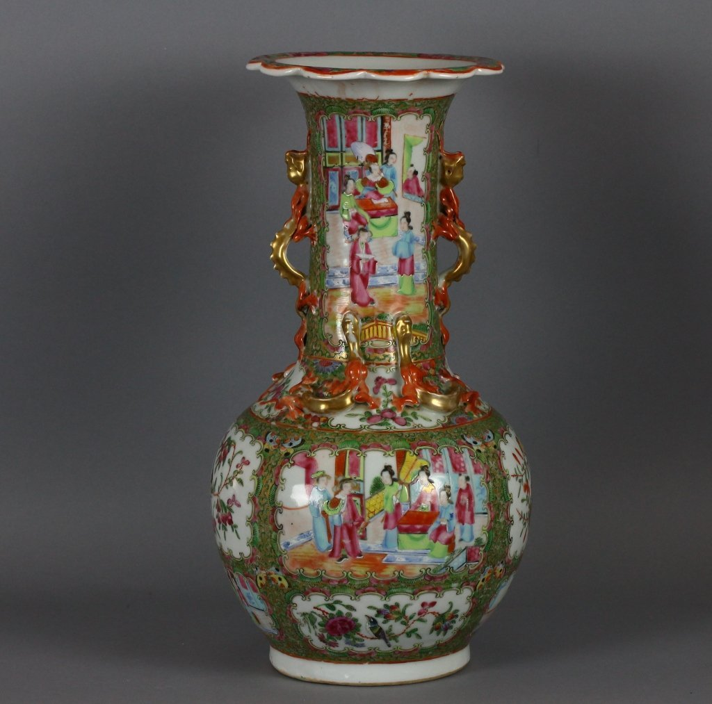 Chinese Rose Medallion Cantonese Dragon Vase