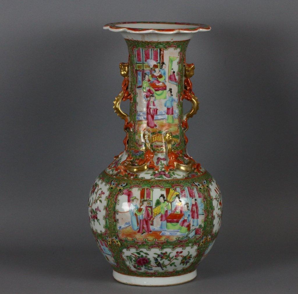 Chinese Rose Medallion Cantonese Dragon Vase