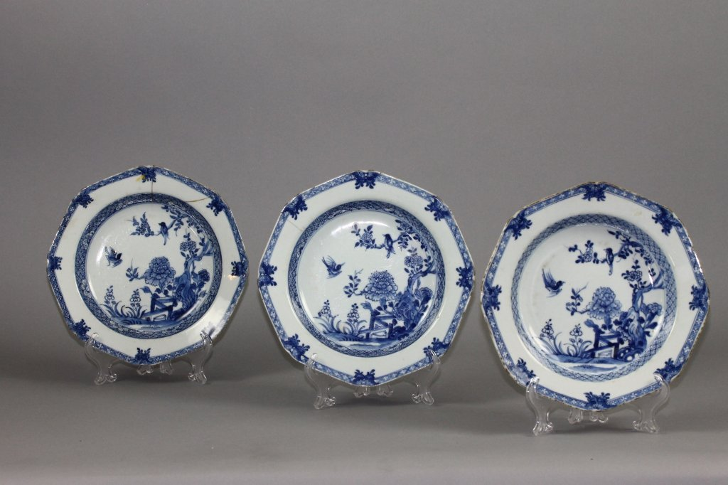 Three Chinese Qianlong Blue and White Plates