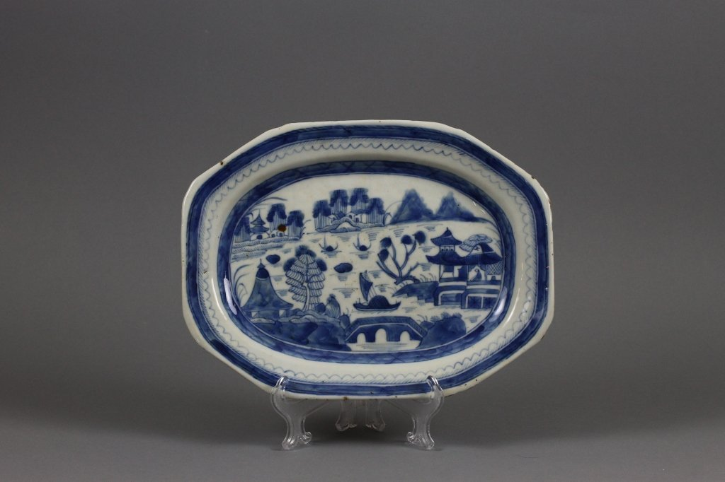 Chinese Export Canton Blue and White Platter