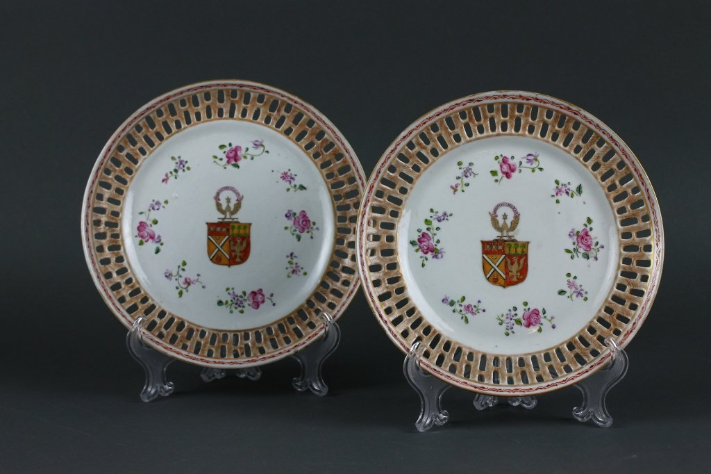 Pr, Chinese 18th c. Armorial Reticulated Plates