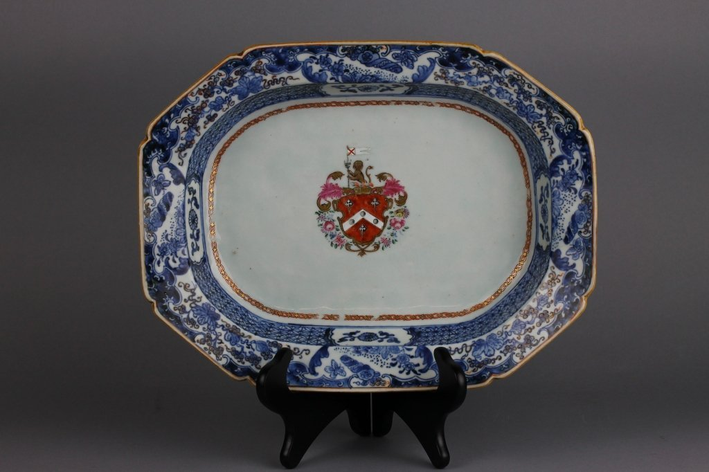 Chinese Export Armorial Blue and White Platter