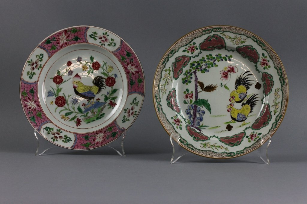 Pair of Chinese 18th c. Cockerel Plates