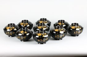 Vintage Japanese Black Lacquered Covered Bowls