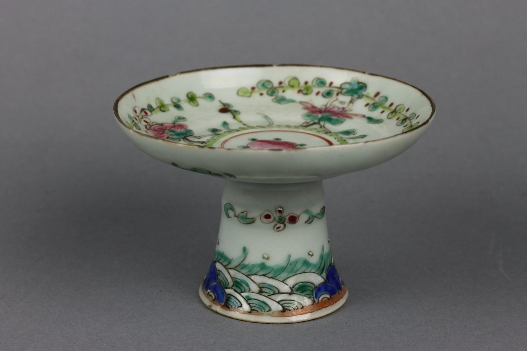 Vintage Chinese Porcelain Small Peach Tazza