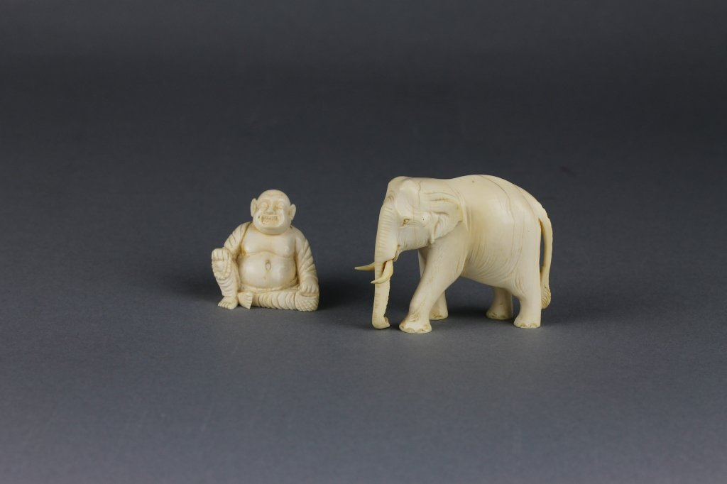 Vintage Chinese Ivory Elephant and Buddha Figures