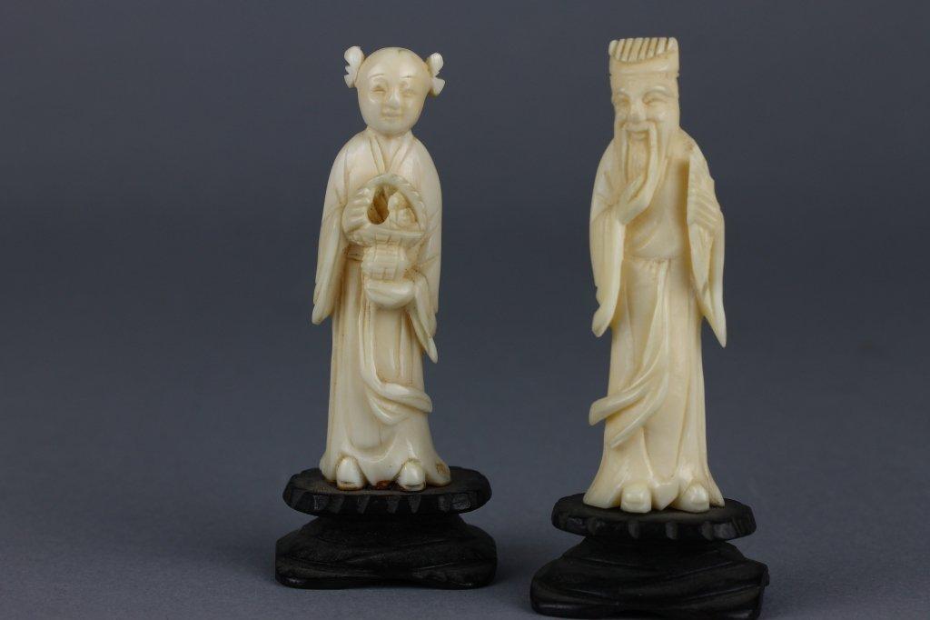 Two Chinese or Japanese Ivory Figures on Wood Base