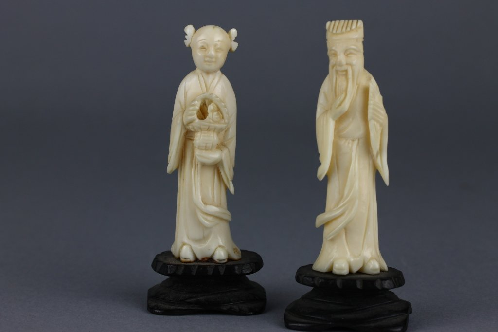 Two Chinese or Japanese Ivory Figures on Wood Base