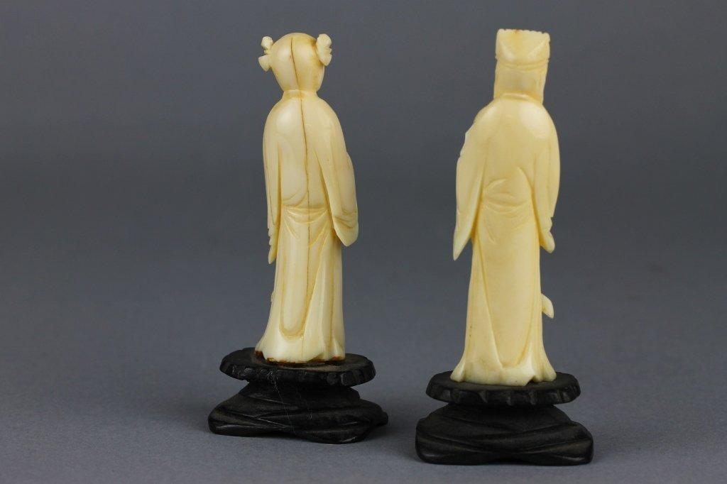 Two Chinese or Japanese Ivory Figures on Wood Base - 2