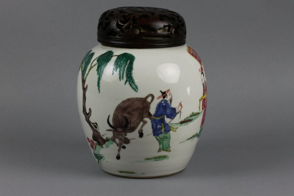 Important 18th c. Chinese Famille Verte Signed Jar