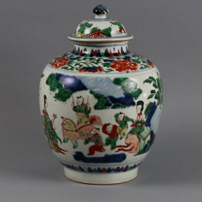 RARE CHINESE TRANSITIONAL PERIOD `WUCAI 'BOYS' JAR
