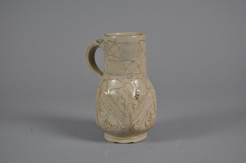 Westerwald Salt Glazed 17th Century Incised Jug
