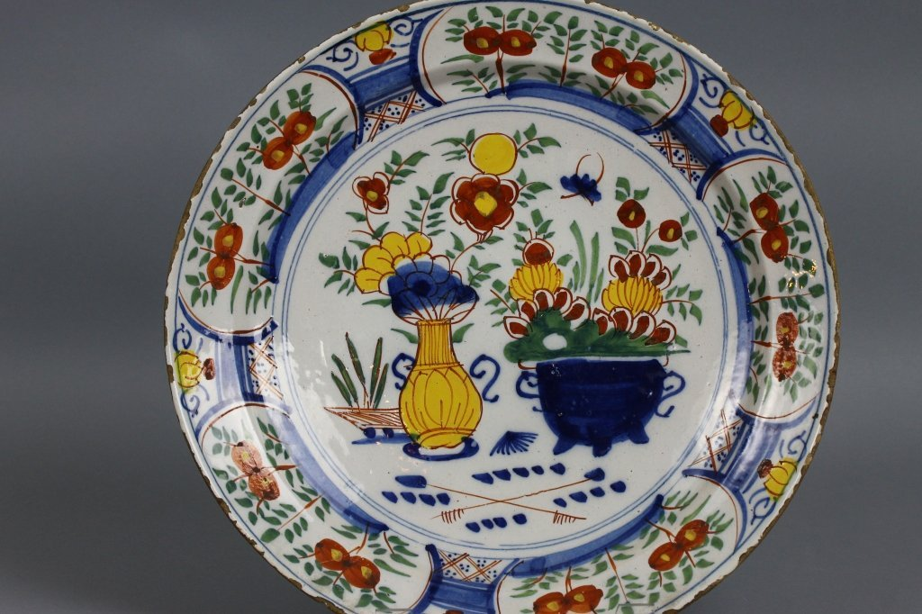 Dutch Delft 18th century Polychrome Charger - 2