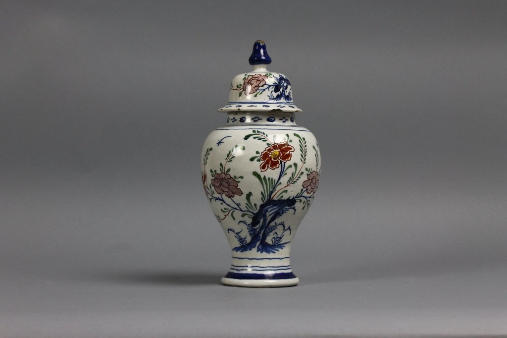 Dutch Delft Polychrome Chinoiserie Baluster Vase