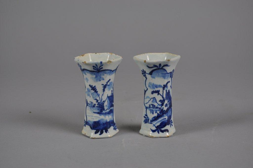 Pair of Small 18th c. Dutch Delft Vases