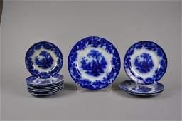 12 Antique Flow Blue plates 'SCINDE PATTERN'