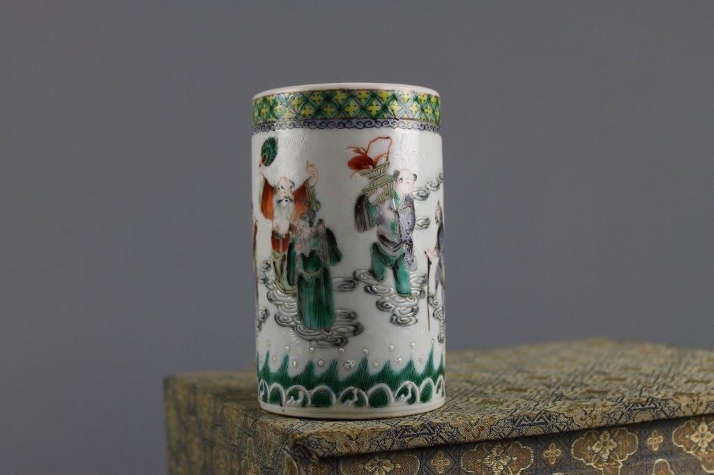 Chinese Famille Verte Brushpot