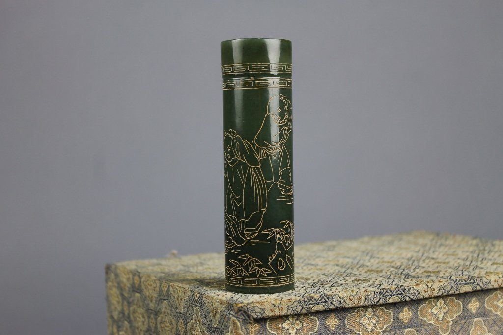 Chinese Cylindrical Jade Covered Tube