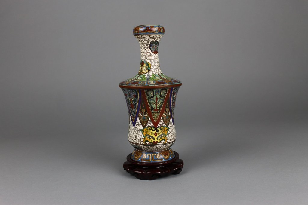 Chinese Cloisonne Qing Dynasty Vase on Wood Stand