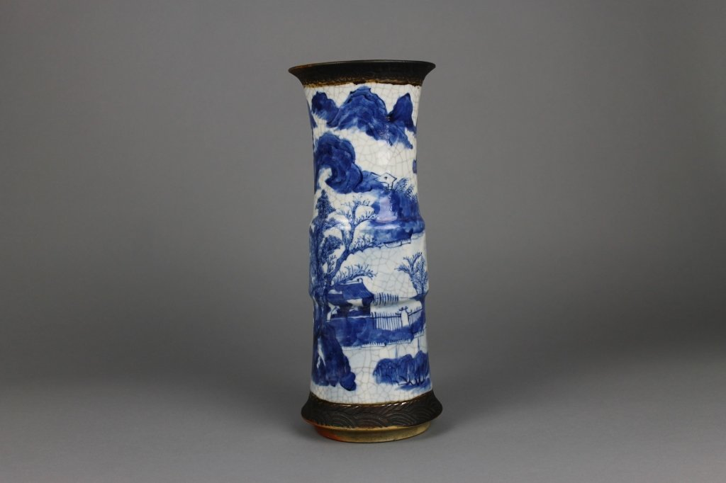 Chinese Qing Dynasty Blue and White Gu Vase