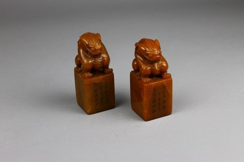 Chinese Seal Blocks on Wood Base