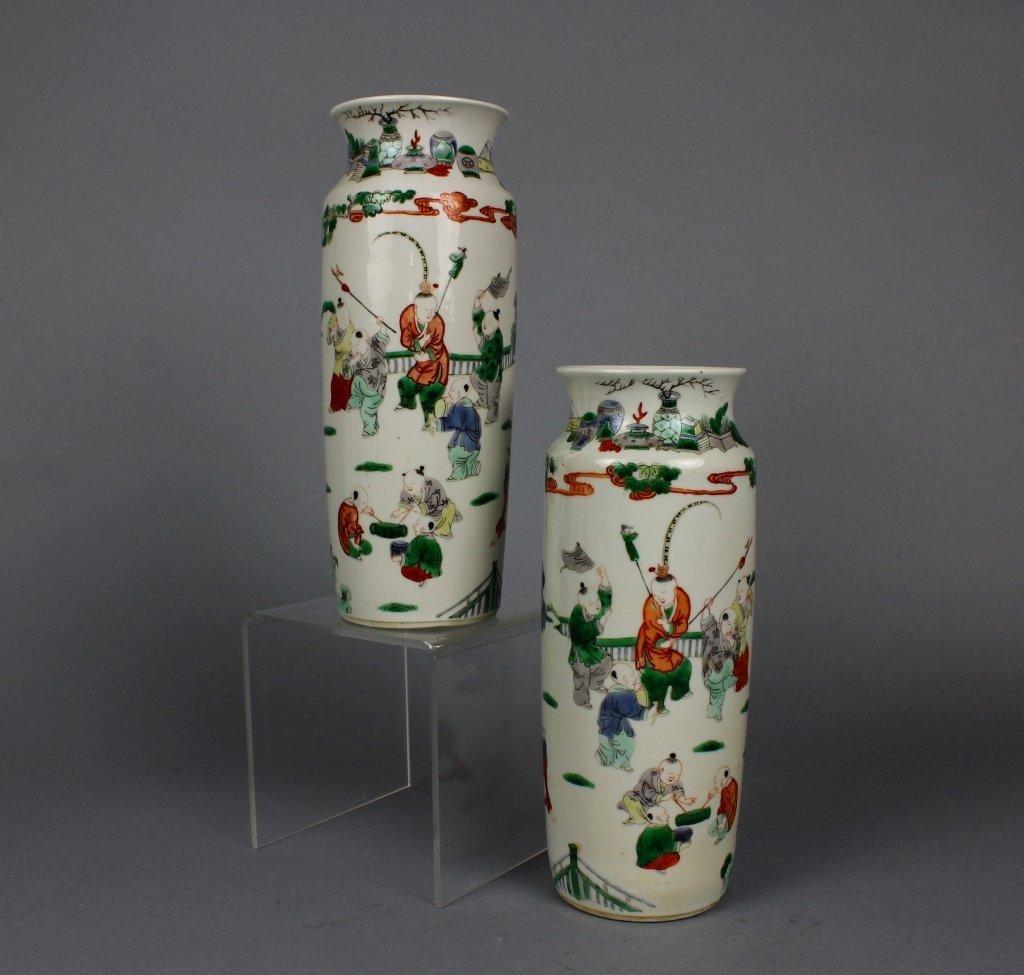 Pr, Chinese Kangxi Period Famille Verte Boys Vases