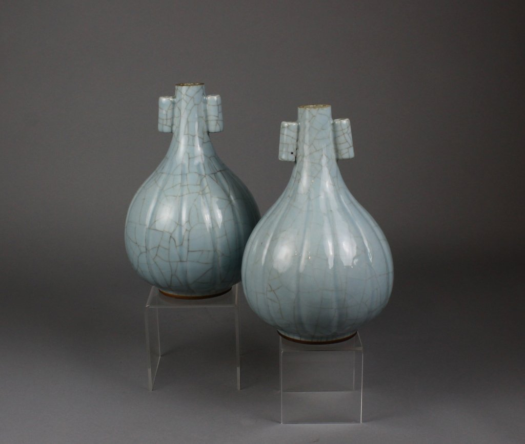 Rare Pair Chinese Mark and Period Guan-Type Vase