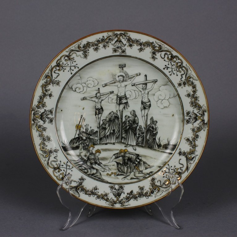 Important Chinese Export Crucifixion Plate (c.1745