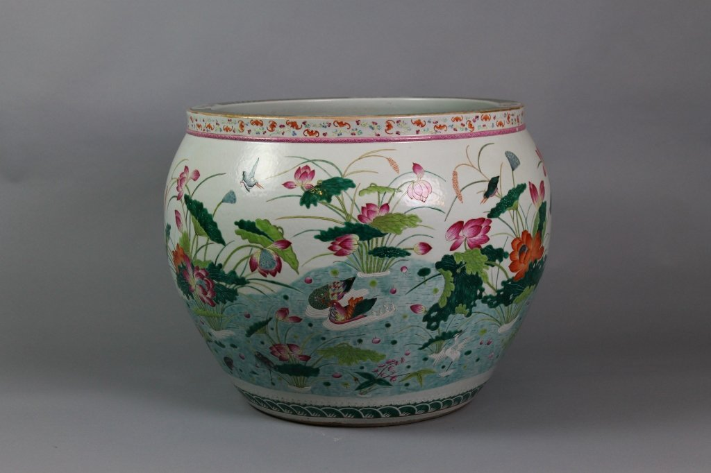 Chinese Famille Rose Hundred Bat Jardiniere