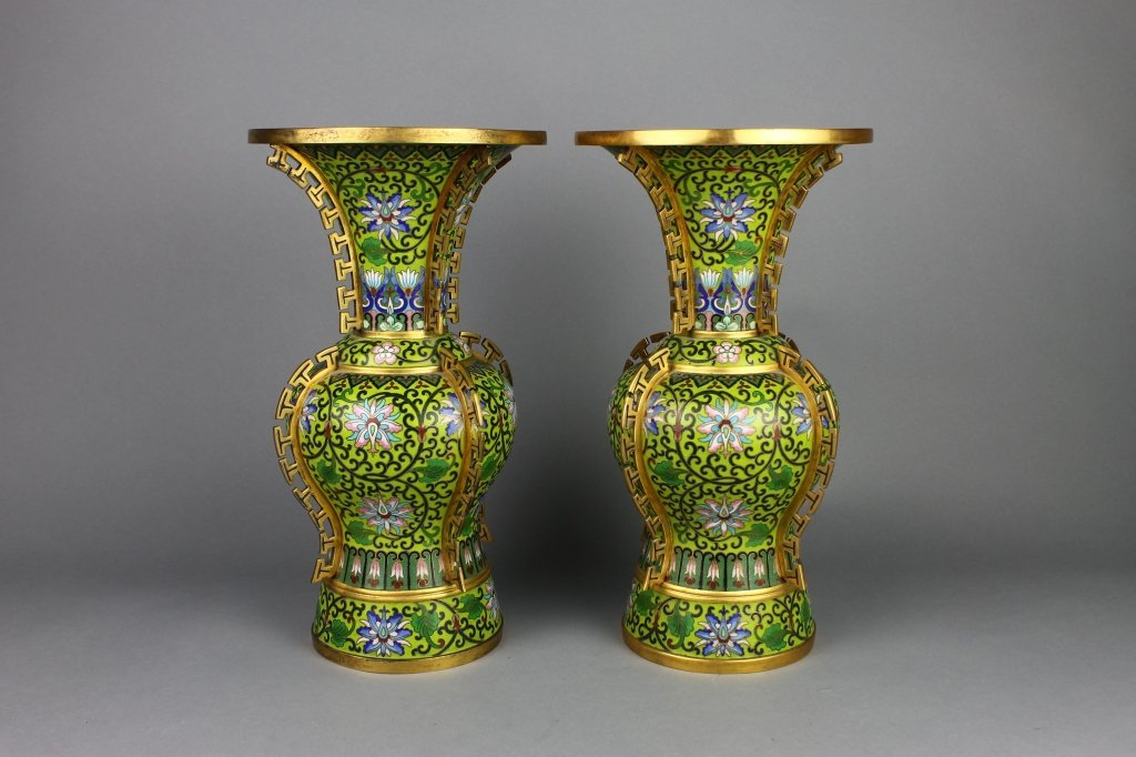 Pr.  Magnificent Chinese Cloisonne Qing Dyn.Vases