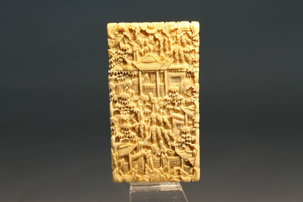 Chinese Ivory 19th C. Canton Carved Card Case