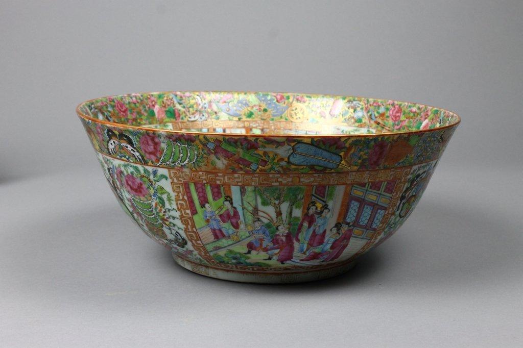 Large Chinese Daoguang Rose Mandarin Punch Bowl