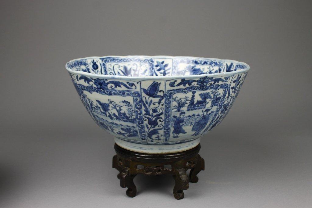 Chinese Kangxi Period Kraak B/W Punch Bowl