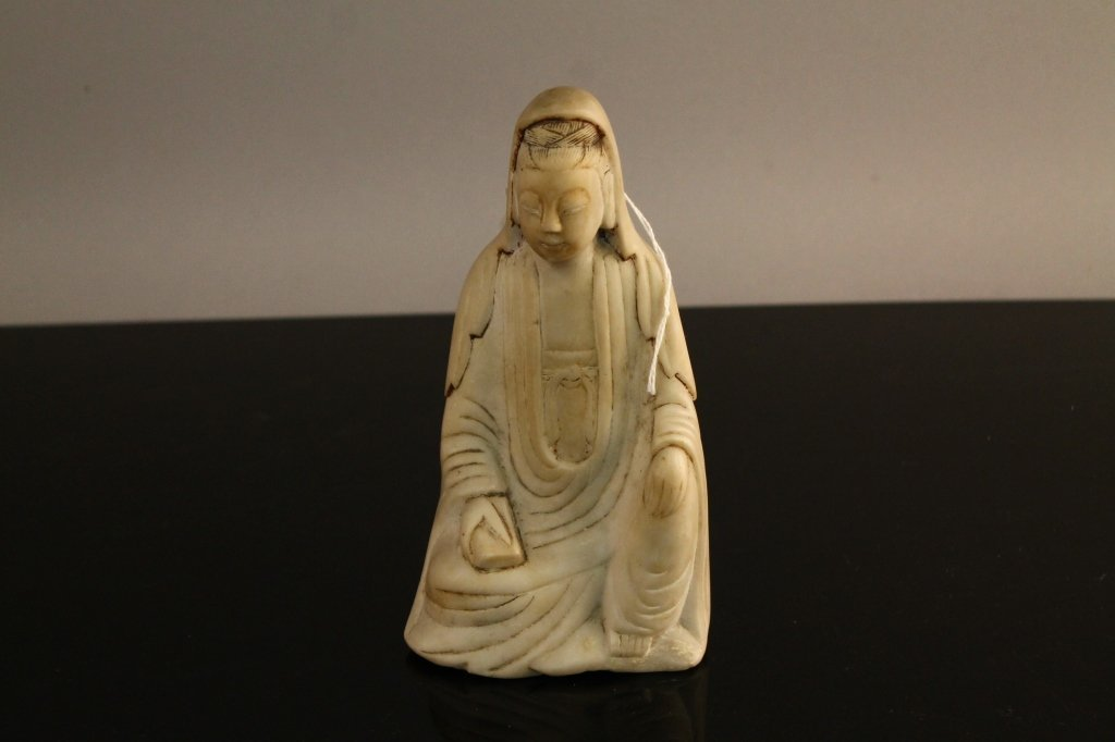 Rare Chinese 17th c. Marble Guanyin Figure