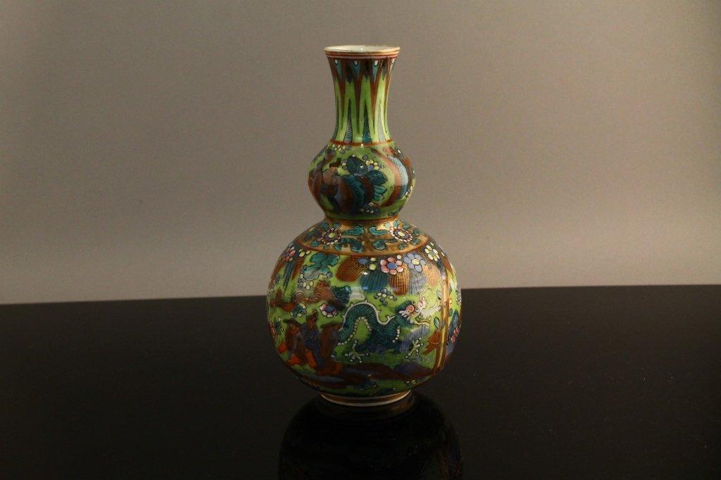 Chinese Kangxi Clobbered B/W Gourd Vase C. 1700