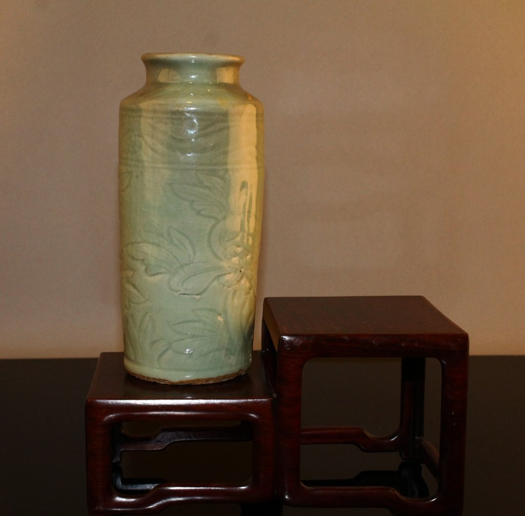 Chinese Longuan Period Celadon Sleeve Vase C. 1600