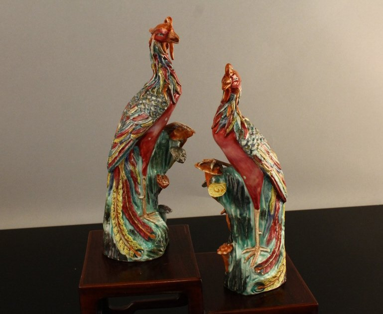 Chinese Ch'ien Lung (1736-1795) Phoenix Figures