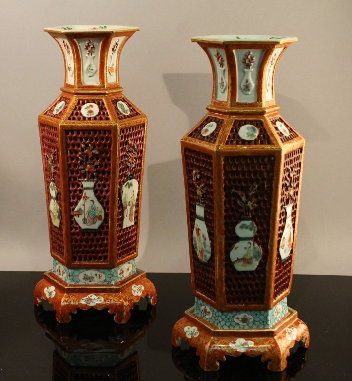 Important Chinese Export Mandarin Reticulated Vase